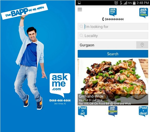 ASKME Android app screens